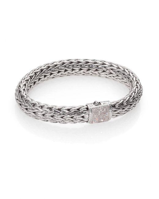 John Hardy | Metallic Classic Chain Diamond & Sterling Silver Large Bracelet | Lyst