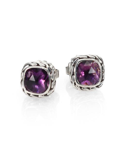 John Hardy | Purple Classic Chain Sterling Silver Stud Earrings | Lyst