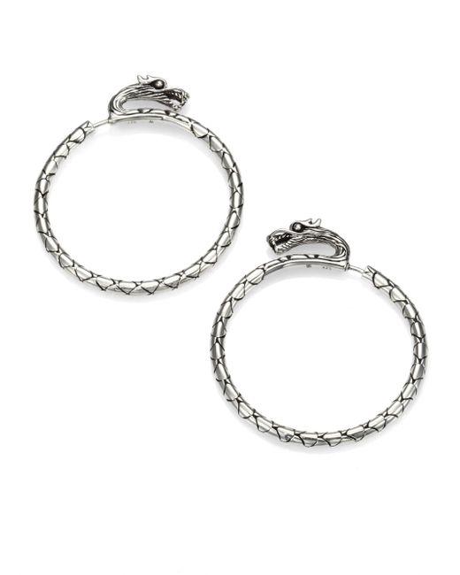 John Hardy | Metallic Naga Sterling Silver Slim Dragon Medium Hoop Earrings/1.5 | Lyst