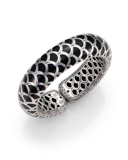 John Hardy | Metallic Naga Enamel & Sterling Silver Wide Flex Cuff Bracelet/black | Lyst