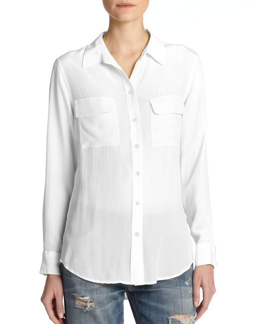 Equipment | White Slim Signature Silk Shirt | Lyst