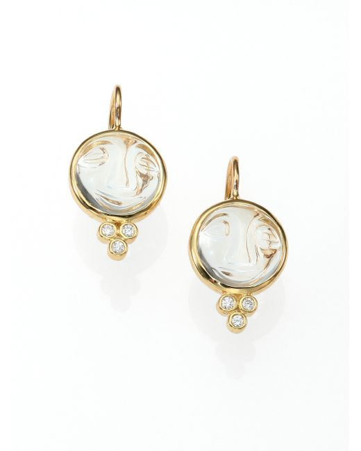 Temple St. Clair | Metallic Celestial Rock Crystal, Diamond & 18k Yellow Gold Small Moonface Earrings | Lyst