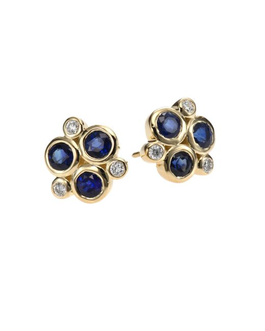 Temple St. Clair | Metallic Classic Color Sapphire, Diamond & 18k Yellow Gold Trio Earrings | Lyst