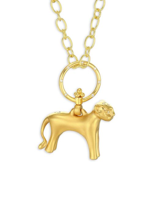 Temple St. Clair | Metallic Standing Lion Diamond & 18k Yellow Gold Pendant | Lyst