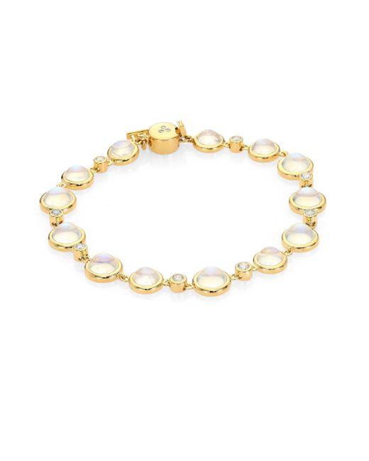 Temple St. Clair   Metallic Single Round Diamond, Royal Blue Moonstone & 18k Yellow Gold Bracelet   Lyst