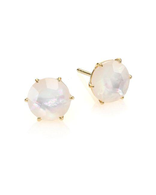 Ippolita | Metallic Rock Candy Mother-of-pearl, Clear Quartz & 18k Yellow Gold Doublet Stud Earrings | Lyst