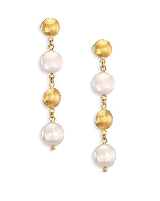 Gurhan | Metallic Lentil 13mm White Coin Pearl & 22-24k Yellow Gold Drop Earrings | Lyst