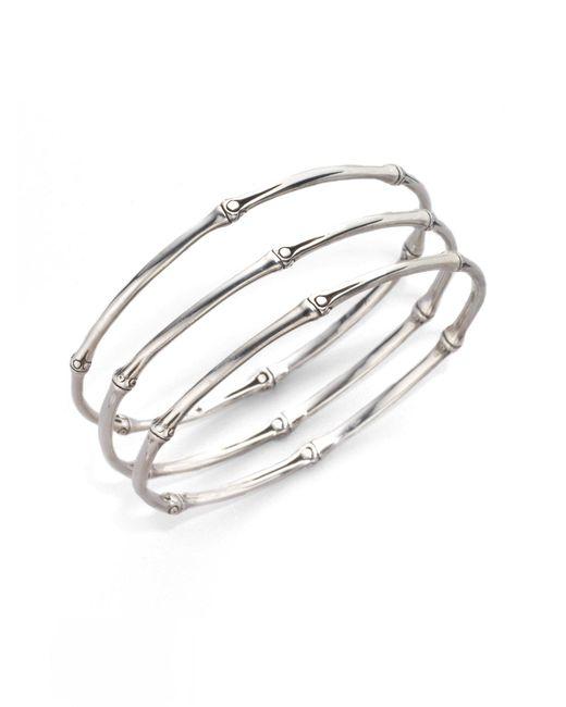 John Hardy | Metallic Bamboo Sterling Silver Slim Bangle Bracelet Set | Lyst