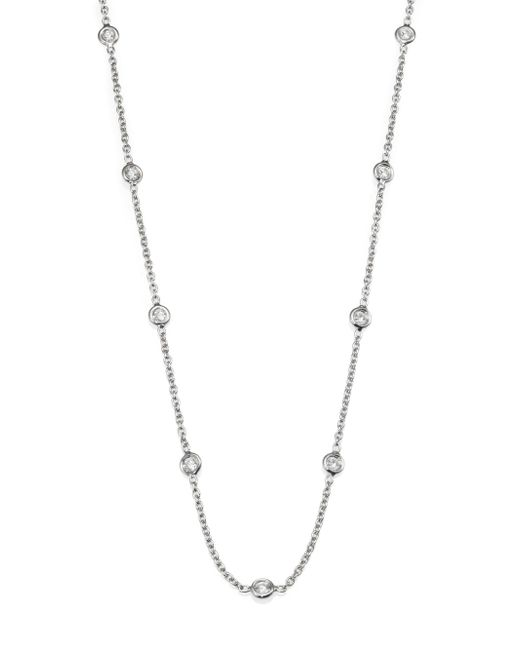 Roberto Coin - Metallic Diamond & 18k White Gold Station Necklace/36 - Lyst