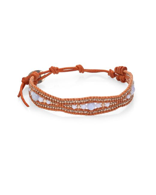 Chan Luu | Orange Blue Lace Agate & Leather Bracelet | Lyst