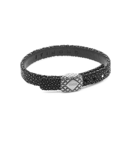 Stinghd | Black Platinum Square And Leather Bracelet | Lyst