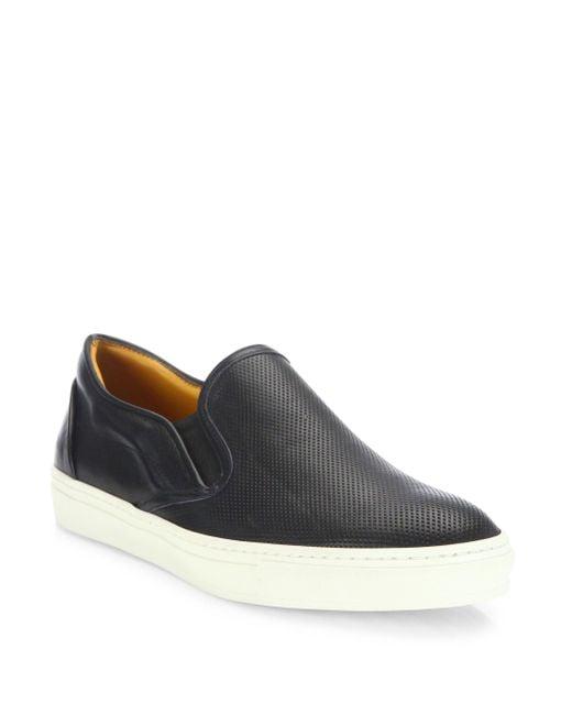Saks Fifth Avenue - Black Leather Slip-on Sneakers for Men - Lyst