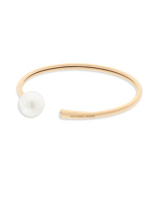 Michael Kors | Metallic Classic Modern Faux Pearl Flexi Bangle/goldtone | Lyst