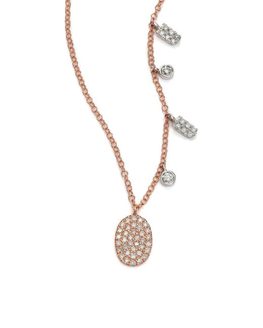 Meira T - Pink Diamond & 14k Rose Gold Oval Pendant Necklace - Lyst