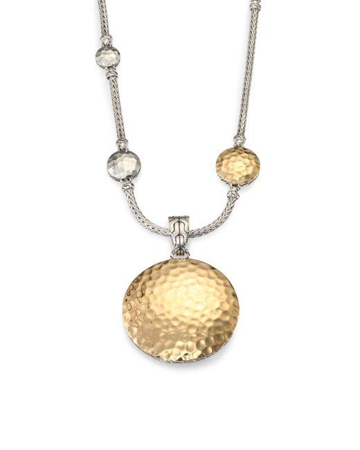 John Hardy - Metallic Palu 18k Yellow Gold & Sterling Silver Medium Round Enhancer - Lyst
