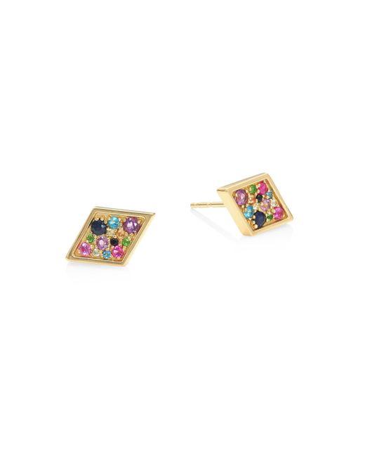 Anzie | Metallic Lifesaver Cleo Rainbow Sapphire Stud Earrings | Lyst