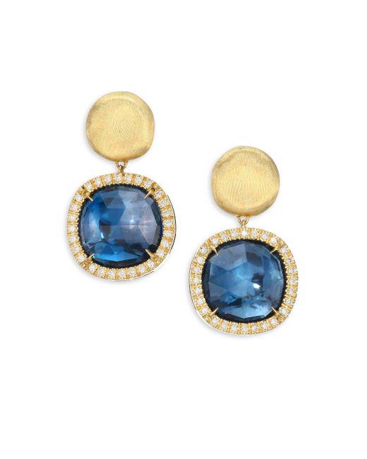 Marco Bicego - Metallic Diamond, Blue Topaz & 18k Yellow Gold Post Earrings - Lyst
