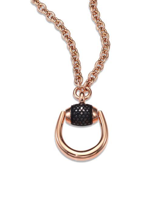 Gucci - Pink Horsebit Black Diamond & 18k Rose Gold Pendant Necklace - Lyst