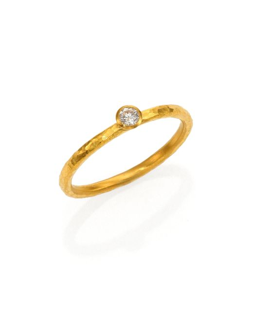 Gurhan - Metallic Delicacies Diamond & 24k Yellow Gold Skittle Stacking Ring - Lyst