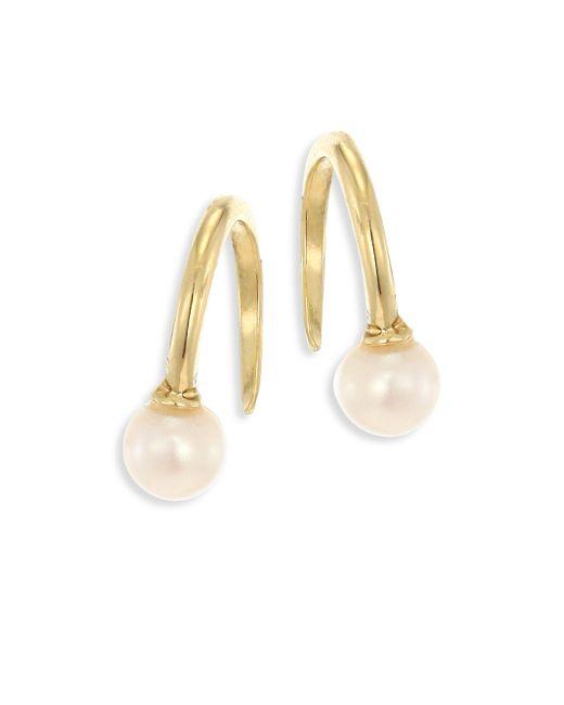 Mizuki - Metallic 4mm White Freshwater Pearl & 14k Yellow Gold Upside Down Hoop Earrings/0.5 - Lyst