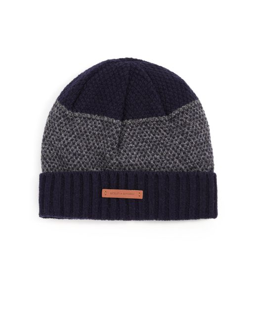 Bickley + Mitchell - Gray Mixed-pattern Cuffed Lambswool Beanie for Men - Lyst