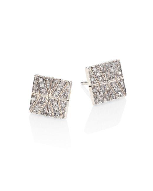 John Hardy | Metallic Modern Chain Diamond & Sterling Silver Stud Earrings | Lyst