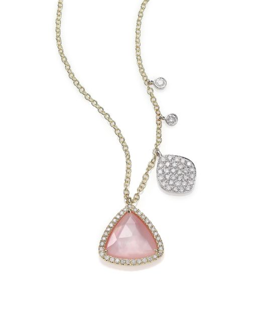 Meira T | Pink Rose Quartz, Mother-of-pearl, Diamond & 14k Yellow Gold Pendant Necklace | Lyst