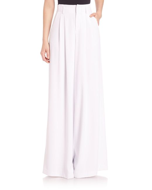 Alice + Olivia | White Straight Wide-leg Trousers | Lyst