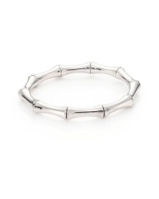 Gucci - Metallic Bamboo Medium 18k White Gold Bracelet - Lyst