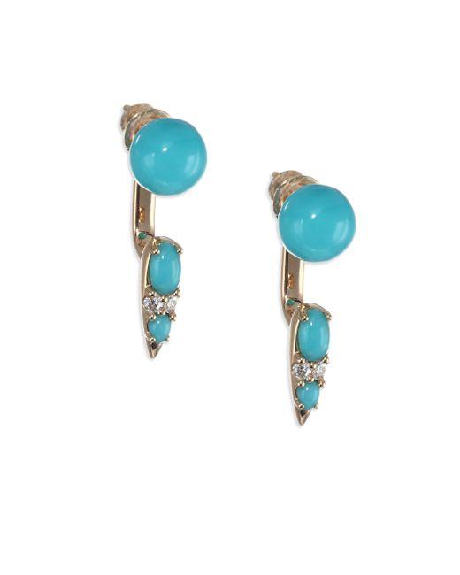 Nikos Koulis - Blue Spectrum Turquoise & Diamond Drop Earrings - Lyst