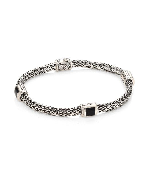 John Hardy | Classic Chain Extra Small Silver & Black Onyx Four Station Bracelet | Lyst