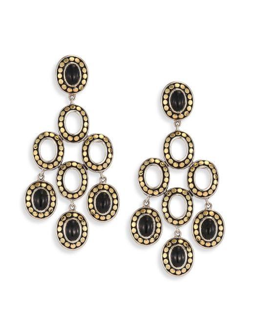 John Hardy | Dot Black Onyx & 18k Yellow Gold Chandelier Earrings | Lyst
