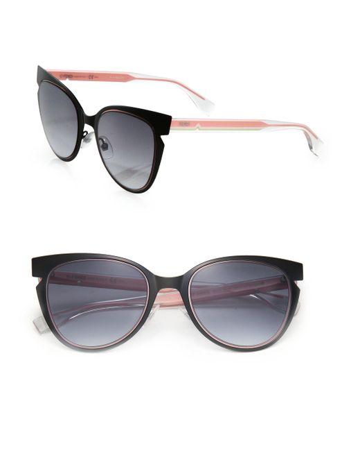 Fendi - Pink 52mm Notched Cat Eye Metal Sunglasses - Lyst