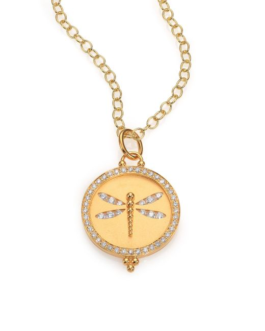 Temple St. Clair | Metallic Tree Of Life Diamond & 18k Yellow Gold Dragonfly Cutout Disc Pendant | Lyst