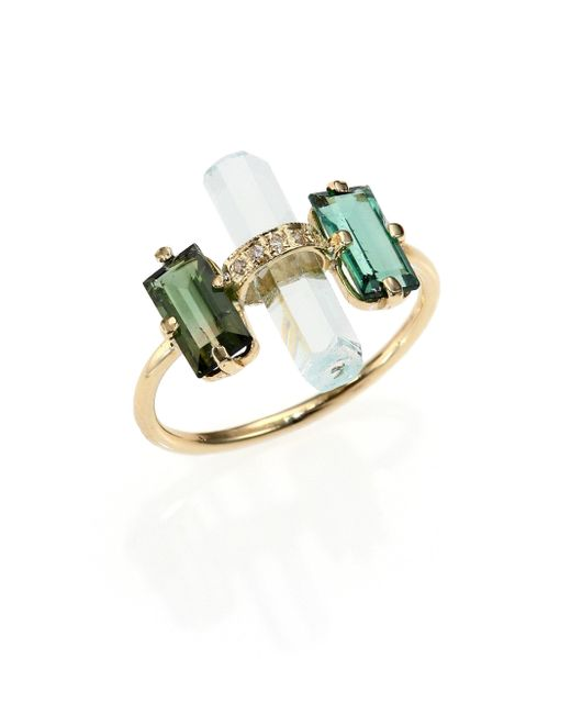 Jacquie Aiche | Metallic Green Tourmaline, Aquamarine, Diamond & 14k Yellow Gold Bar Ring | Lyst