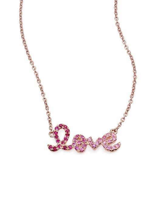 Sydney Evan - Pink Love Ombre Ruby, Multicolor Sapphire & 14k Rose Gold Pendant Necklace - Lyst