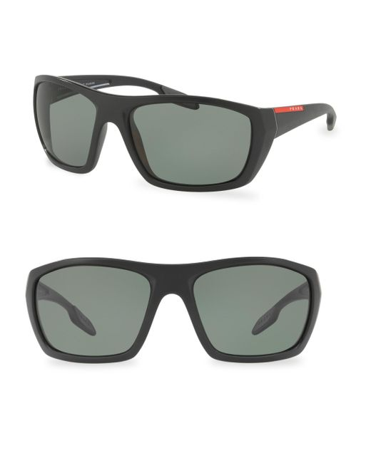 Prada Sport | Black 61mm Wrap Sunglasses for Men | Lyst