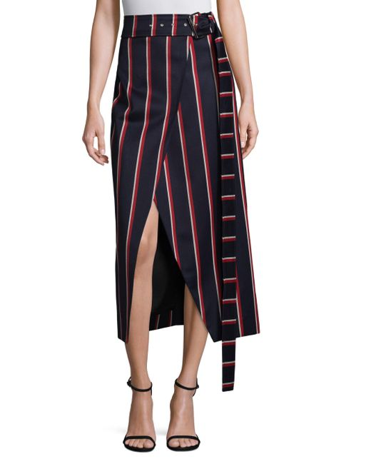 Solace London - Blue Apolline Striped Midi Skirt - Lyst