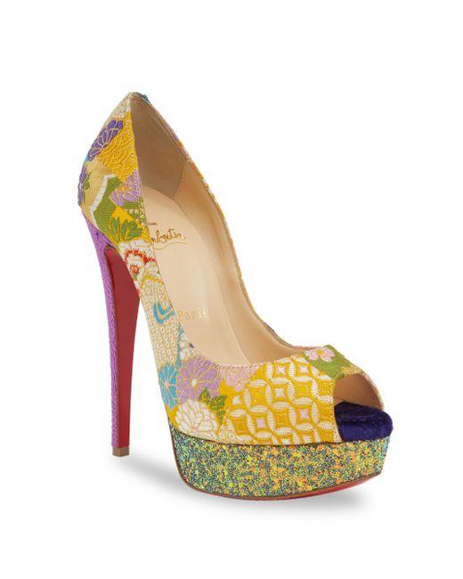 Christian Louboutin | Multicolor Classique Lady Peep 150 Floral & Glitter Platform Peep Toe Pumps | Lyst