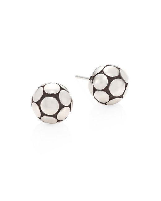 John Hardy | Metallic Dot Medium Silver Ball Stud Earrings | Lyst