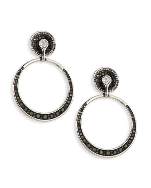 Plevé - Women's Black Burst Diamond & 18k White Gold Opus Hoop Earrings - Black - Lyst