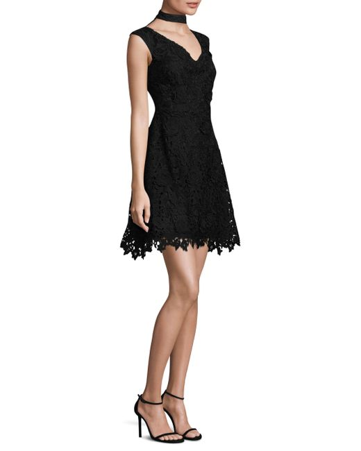 Laundry by Shelli Segal - Black Lace Choker Fit-&-flare Dress - Lyst