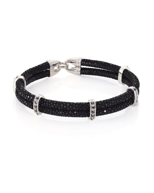 Stinghd - Black Diamond, Silver & Stingray Wrap Bracelet for Men - Lyst