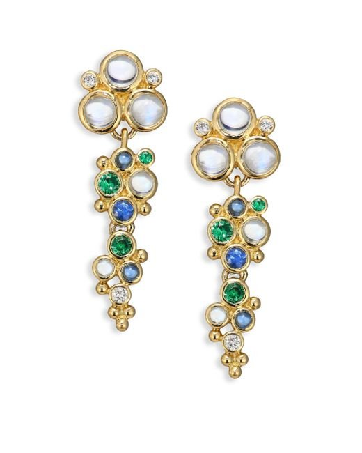 Temple St. Clair | Multicolor Mare Diamond, Royal Blue Moonstone, Blue Sapphire, Tsavorite & 18k Yellow Gold Drop Earrings | Lyst
