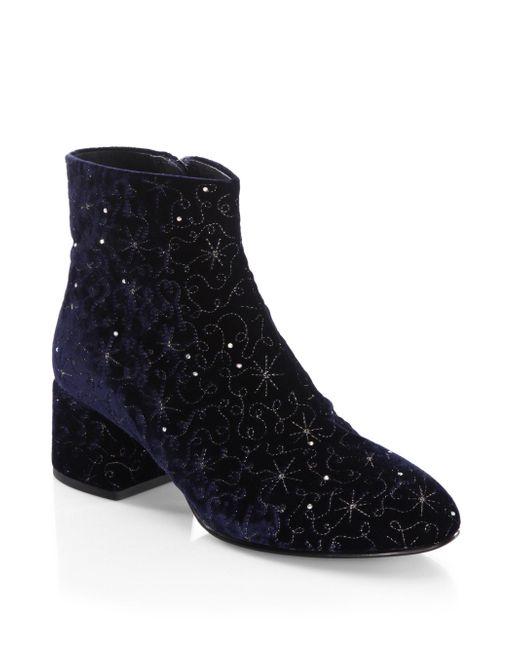 Ash | Blue Diamond Velvet Booties | Lyst