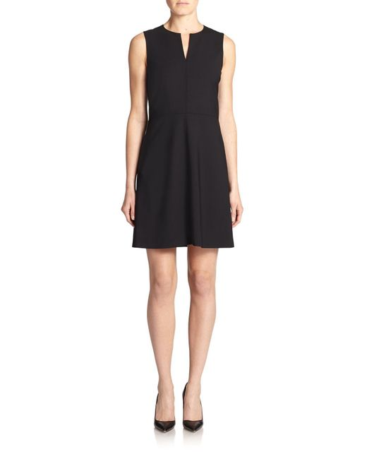 Theory | Black Miyani Edition Stretch Wool Fit-&-flare Dress | Lyst