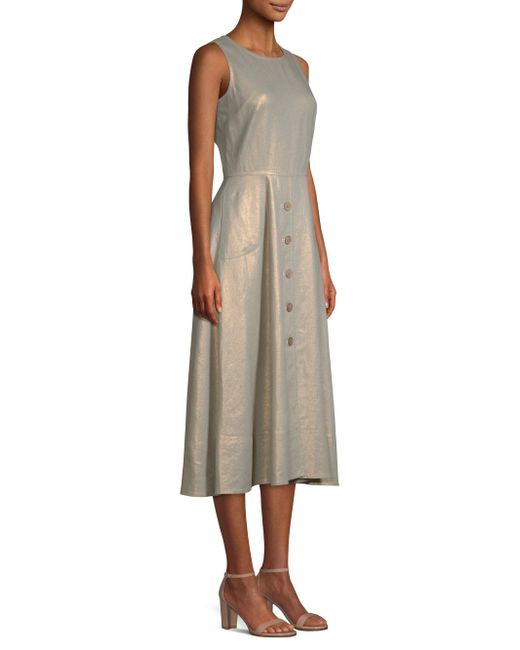 Donna Karan - Metallic Sleeveless Buttoned Midi Dress - Lyst