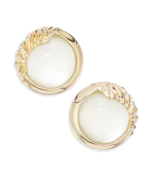 Alexis Bittar | White Lucite Crystal Studded Sculptural Sphere Clip-on Earrings | Lyst