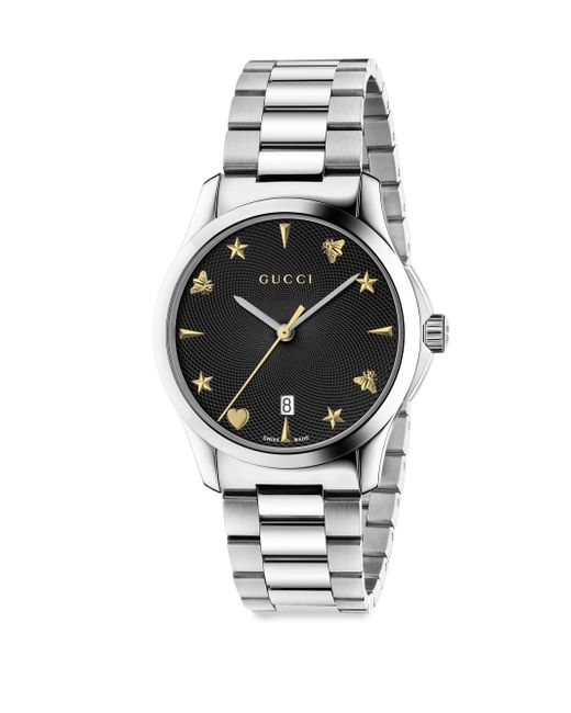 Gucci | Metallic G-timeless Guilloche Sapphire Crystal Quartz Stainless Steel Watch | Lyst