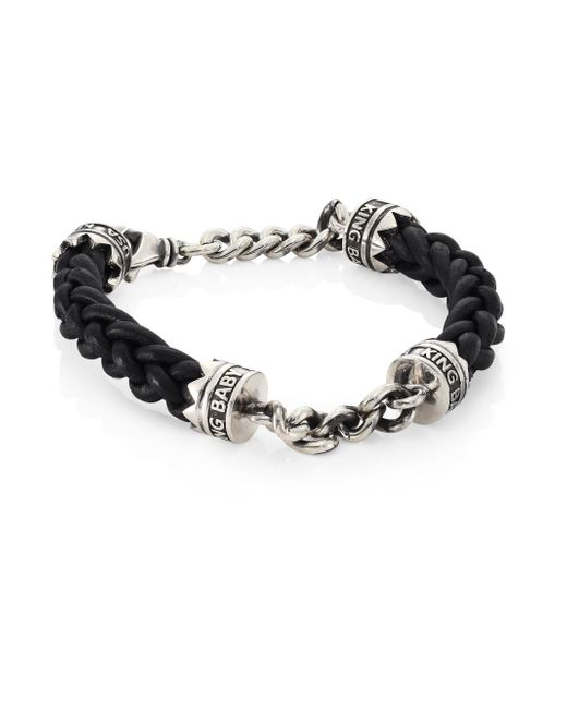 King Baby Studio - Metallic Sterling Silver Chain & Braided Leather Lanyard Bracelet for Men - Lyst